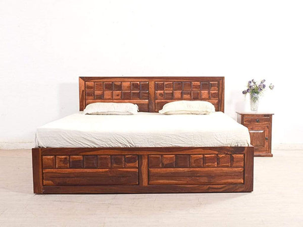 Woodrow King Size Bed With Pull Out Drawer Storage In Teak Finish GMC Standard Beds FN-GMC-005336