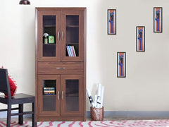 Yuko Four Door Book Case in Columbia Walnut Finish GMC Express Storage FN-GMC-004753