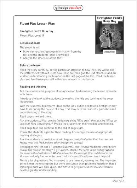 Firefighter Fred's Busy Day Teacher Guide