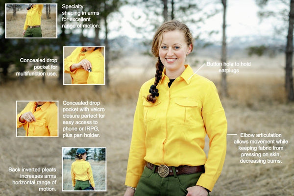 Detailed specification sheet best fit wildland fire shirt