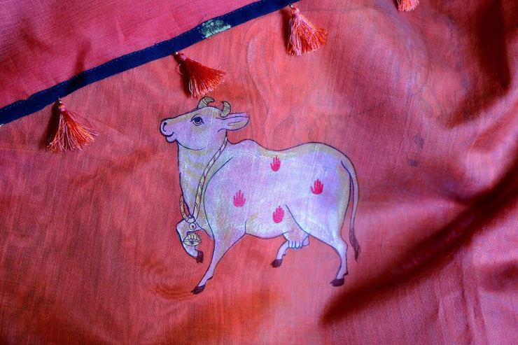 Hand Painted Sarees - Cows in Aspiration