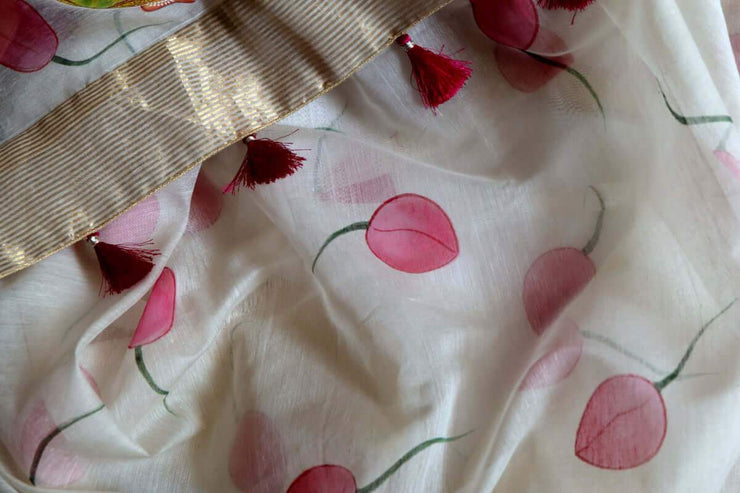 Hand Painted Sarees-The Budding Lotus