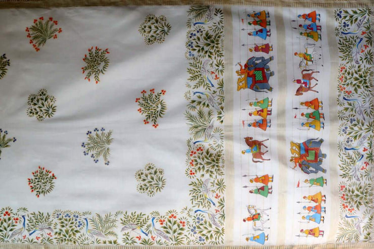 Hand Painted Sarees-The Garden Procession