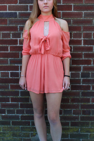 D&M Coral Cold Shoulder Romper