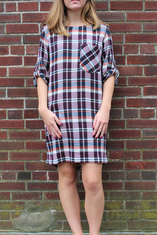 Bella Dahl Bowry Plaid Button Back Dress