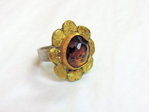 Amber, Gold Nuggets and Stirling Silver Ring