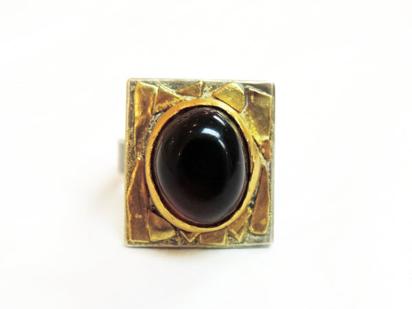 Amber, Gold and Stirling Silver Ring