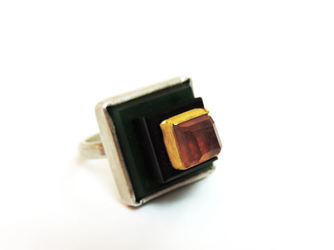 Amber, Gold, Jade, Obsidian and Stirling Silver Ring