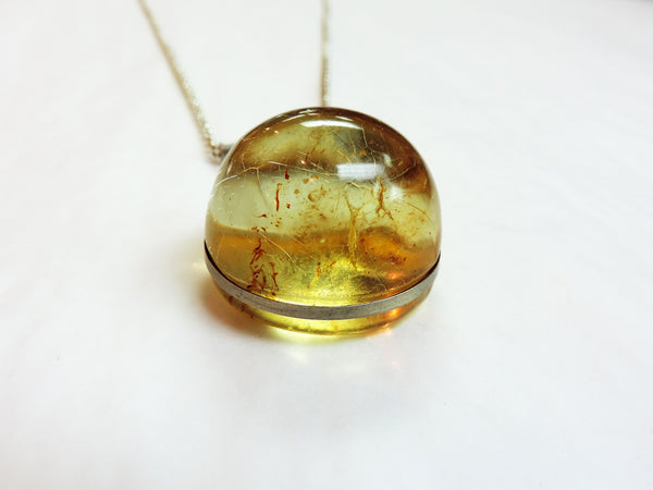 Kauri Copal and Stirling Silver Pendant