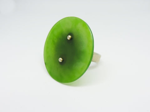 Round Pounamu, Silver and Brass Ring