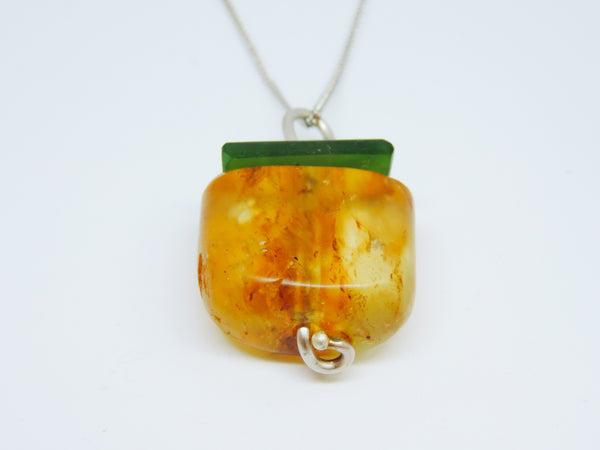 Kauri Copal and Pounamu Pendant