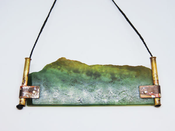 Pounamu and Brass Pendant