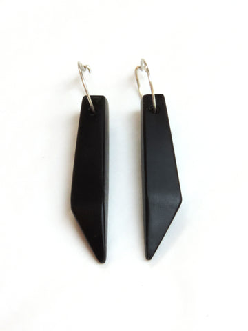 Obsidian Facet Cut Long Earrings