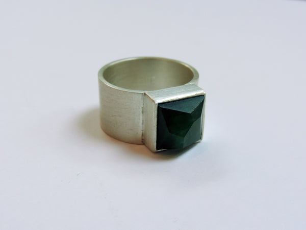 Square Facetted Pounamu Wide Ring
