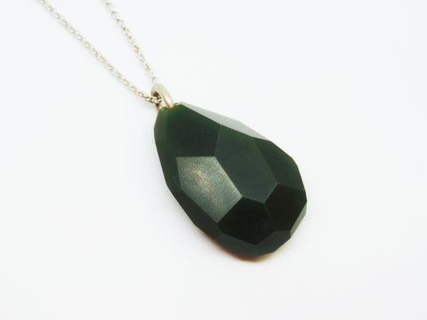 New Zealand Pounamu Faceted Rock Pendant - Large