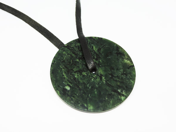 Pounamu Disk Pendant with Leather Strap