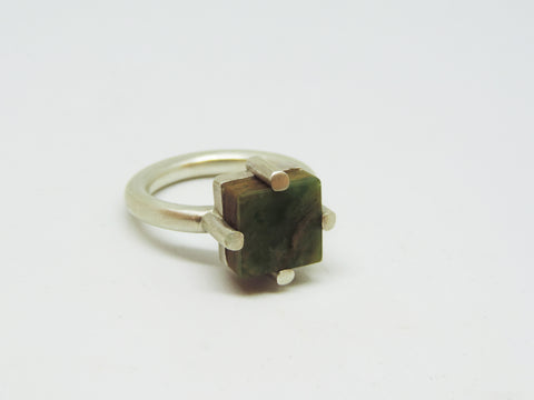 Pounamu 'Flower Jade' Square Ring Claw