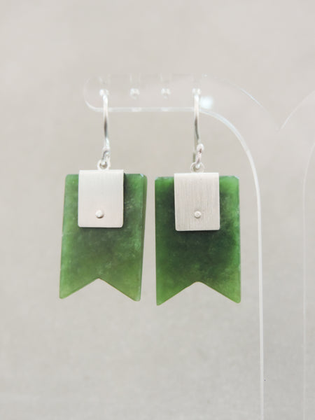 Pounamu Block Ribbon Hook Earrings