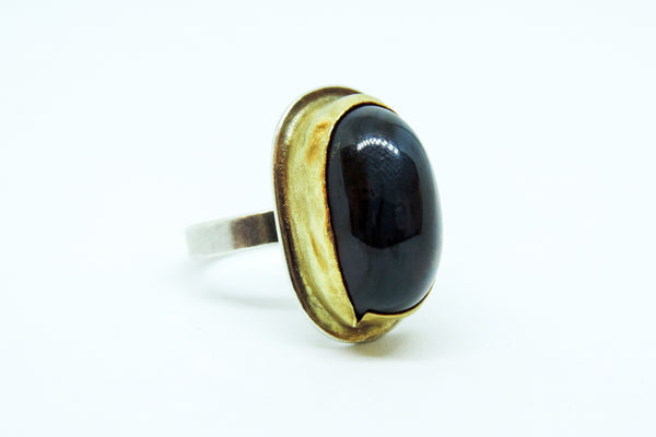 Amber, Jade, 24ct Gold and Stirling Silver Ring