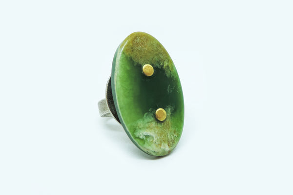 Jade, Gold and Brass Ring