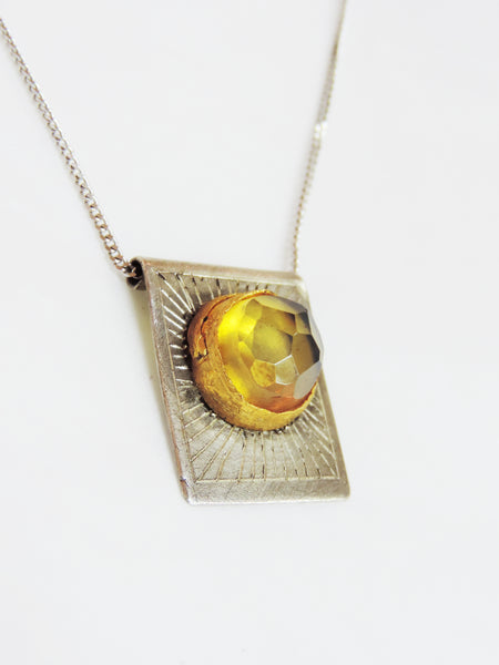 Amber, Gold and Stirling Silver Pendant