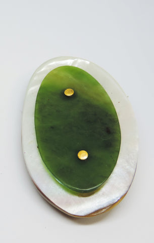 Pounamu and Gold Brooch/Pendant
