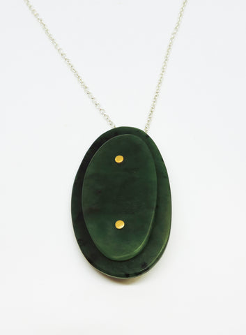 Pounamu and 24ct Gold Pendant/Brooch