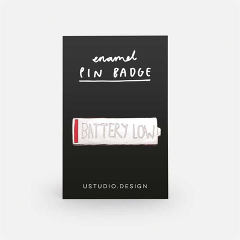 Low Battery Enamel Pin
