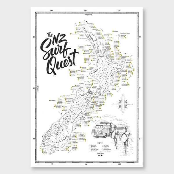 The NZ Surf Quest print map