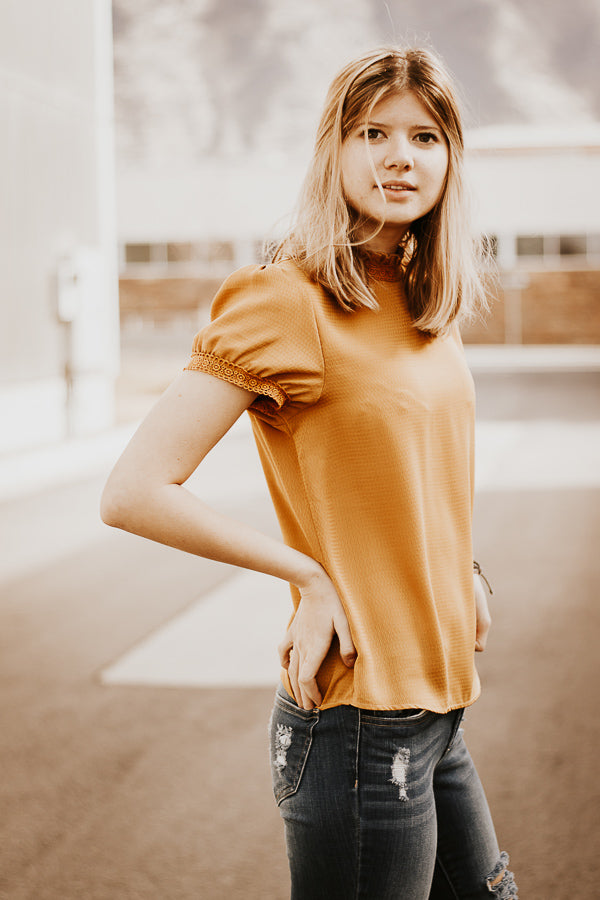 The Holland Lace Top in Mustard Yellow