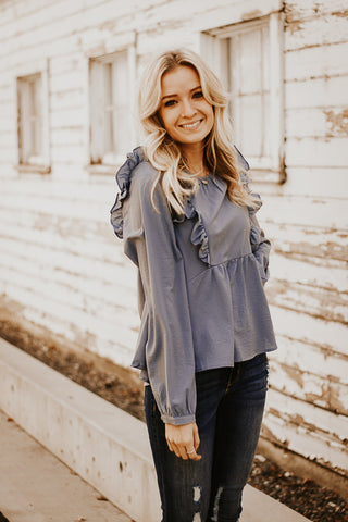 The Dulcet Ruffle Top in Dusty Blue