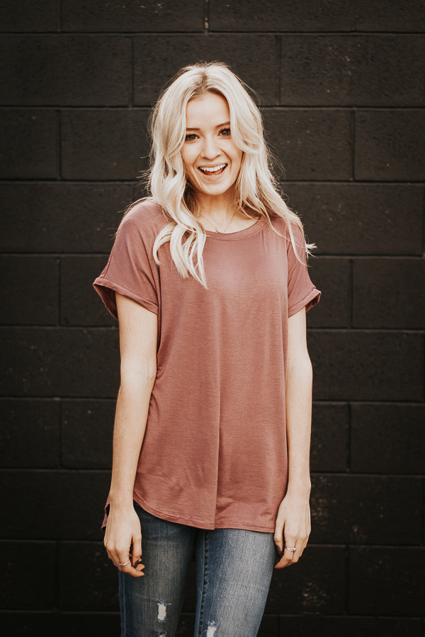 The Melanie Tee in Dark Mauve