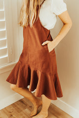 The Sydney Ruffle Dress in Burnt Orange
