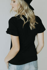 The Basic Ruffle Top in Black