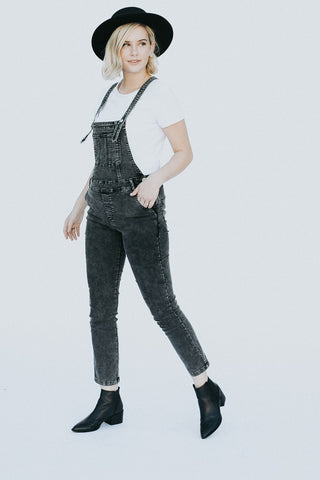 The Rock Girl Overalls in Distressed Gray