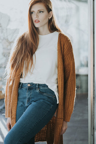 The Laney Cardigan in Caramel