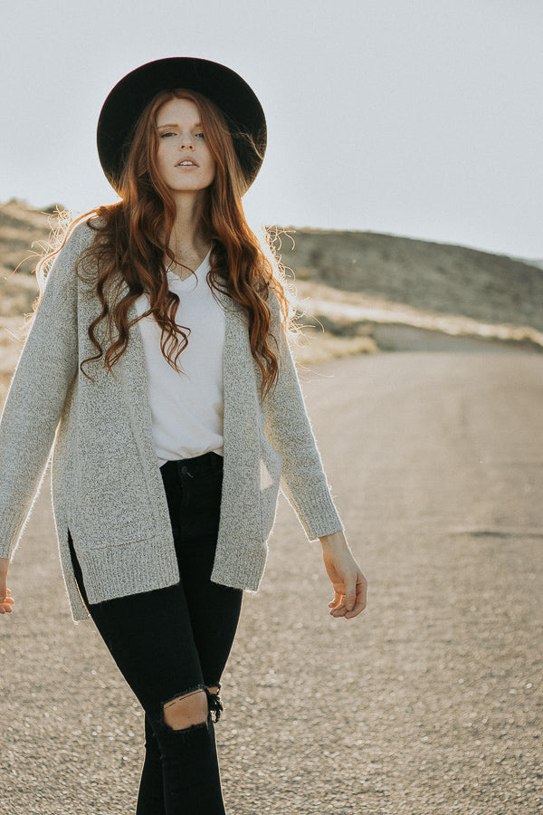 The Altair Cardigan in Speckled Gray