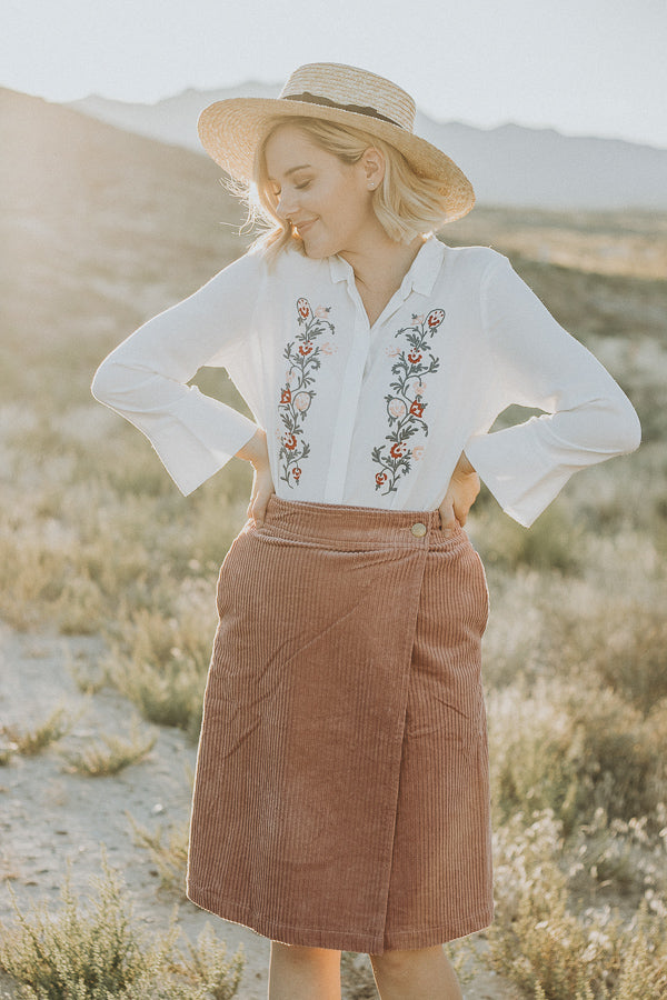 The Midway Corduroy Skirt in Dusty Rose