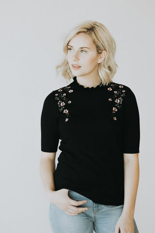 The Ruffle Neck Embroidered Top