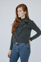 The Tetra Ruffle Top in Navy