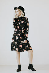 The Nadia Floral Dress in Black