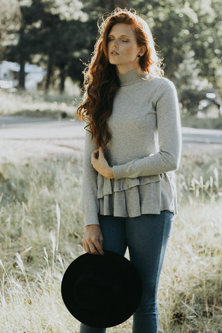 The Monroe Ruffle Sweater in Gray