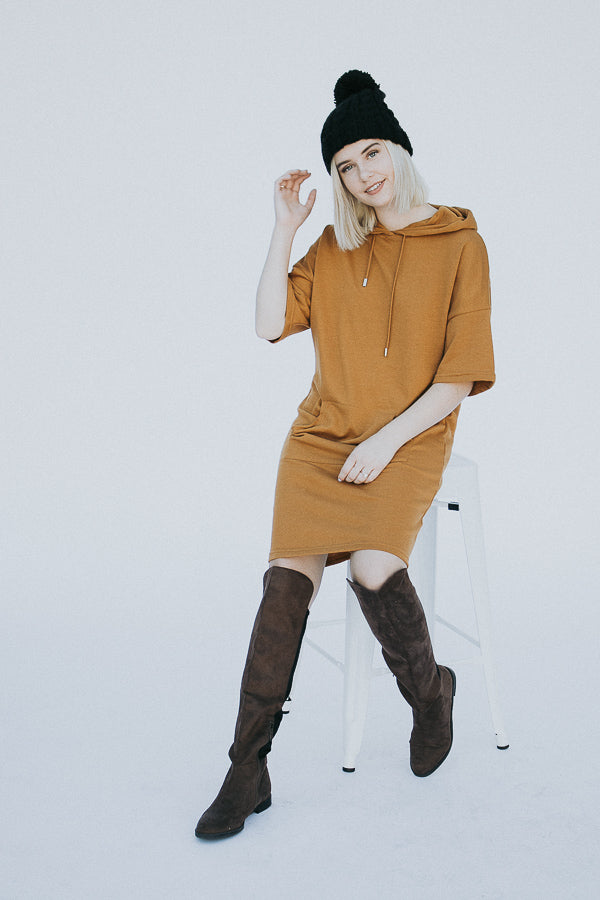 The Morey Hooded Sweater Dress in Mustard