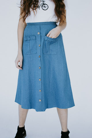 The Ophelia Button Front Skirt in Denim
