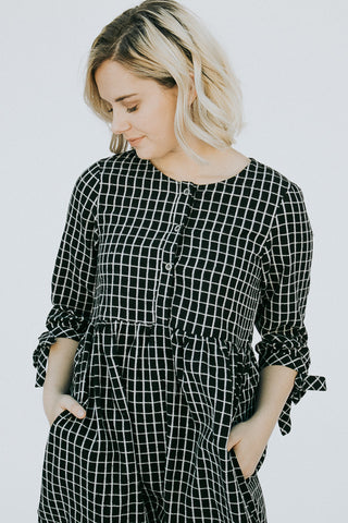 The Harvest Plaid Dress in Black