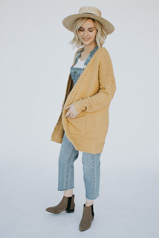 The Perry Ribbed Cardigan in Mustard