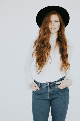 The Bell Sleeve Turtleneck Top in White