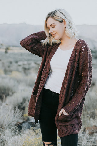 The Cinnamon Birch Cardigan in Eggplant