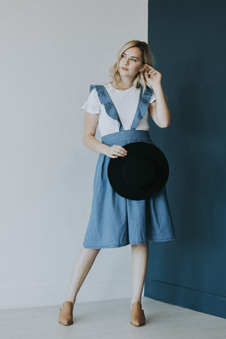 The Aurora Overall Skirt in Denim
