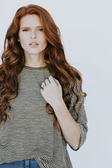 The Ira Striped Top in Olive